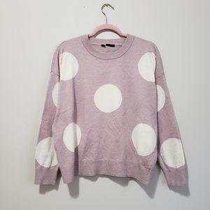 Tahari polka dot crew neck soft knit sweater